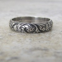 Wedding Band Floral Pattern Ring Antique Silver Floral Wedding Ring