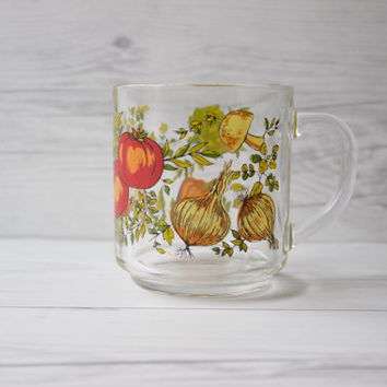 Vintage Arcoroc France Vegetable Glass Coffee Mug | Garden Kitchen Glassware