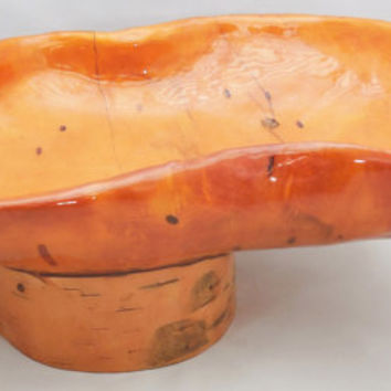 "Handmade Birch Bowl  11"" long, Vintage Lacquered Wood Bowl, Folk Art Rustic Bowl"