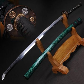 Japanese Samurai sword  Katana Oil Quenched Damascus Folded Steel+clay tempered hand Folished Full Tang Blade Very Sharp