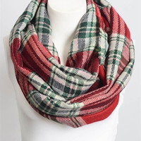 Plaid Infinity Scarf - red