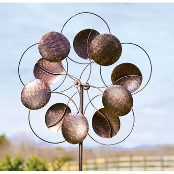 6-Ft Tall Bronze Finish Metal Wind Spinner Spinning Outdoor Modern Art