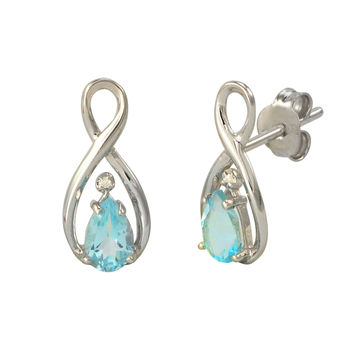 Diamond and Blue Topaz Earrings .01 ct Sterling Silver Figure Eight