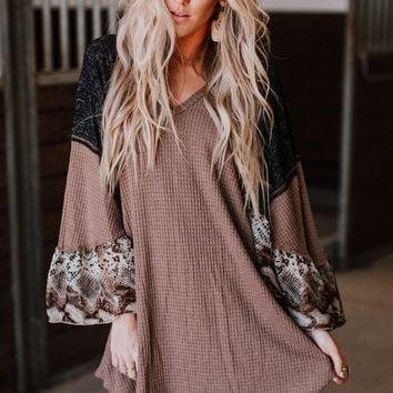 Escapade Mix Vneck Bell Sleeve Tunic - Brown