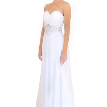 Miracle Agency Australian Designer Label White 2007 Sweetheart Strapless Beaded Waist Gown