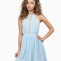 Halter Backless Cutout A-Line Pleated Mini Dress