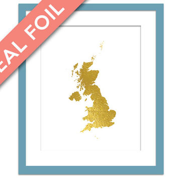 Great Britain Map - Gold Foil Print - United Kingdom Art Print - Gold Foil Map - Geography Travel Poster - England Wall Art - World Maps