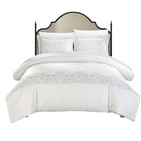 Sophia 3 Piece Saunder Bridal Collection Duvet Cover Set King & Queen White