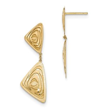 14k Yellow Gold Polished and Brushed Triangle Eye Post Dangle Earrings