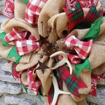 Christmas Wreath Antler Wreath Antler Decor Christmas Antler Wreath Burlap Christmas Wreath