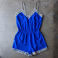 coveted cobalt blue romper with lattice hem