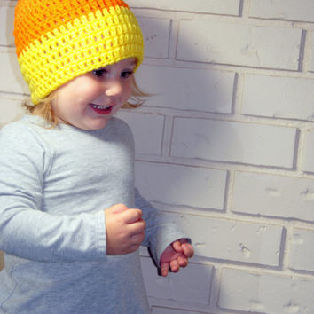 Crochet Candy Corn Hat, Fall Baby Hat, Halloween Hat, Toddler, Infant Boys, Newborn Photo Prop, Kids Knit Hat, Autumn Hat, Candy Corn Beanie