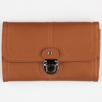 Buckle Front Wallet Cognac One Size For Women 24930140901