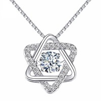 ON SALE - Star of David With Swivel Crystal Sterling Silver Pendant Necklace