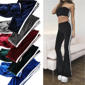 Fashion Casual Velvet Stripe Strapless Long Pagoda Pants Set Two-Piece Sportswear