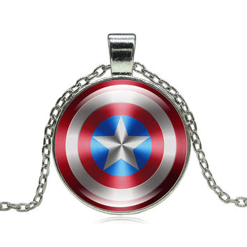 Glass Cabochon Pendant Necklace Movie Captain America Art picture Statement jewelry Silver Chain Necklace for Women gift