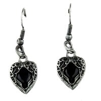 Black Stone Heart Wings Earrings Gothic Jewelry Cosplay