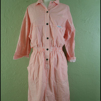 Vintage '80s Coral ShirtDress// DolmanSleeve// L by StoriesForBoys