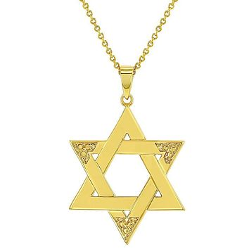 18k Gold Plated Religious Judaism Jewish Star of David Necklace Pendant 19""