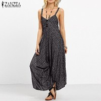 ZANZEA Summer Rompers Womens Jumpsuit 2018 Fashion Striped Long Playsuit Casual Loose Sexy Backless Overalls Plus Size Hot Sale