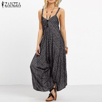 New Arrival 2018 ZANZEA Rompers Womens Striped Jumpsuit Summer Long Playsuit Casual Loose Sexy Backless Plus Size Overalls