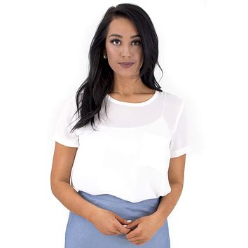 Women's Short Sleeve Woven Top