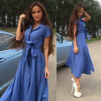 V-neck Short Sleeve Solid Lace Up Single Button Long Dress