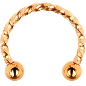 "16 Gauge 3/8"" Rose Gold Tone IP Seriously Twisted Horseshoe Curved Barbell"
