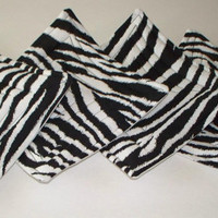 Fabric Coasters - set of 4 - Zebra print - Quilted - Home Decor - Matching Pillow Available