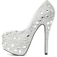Jeweled Glitter Platform Pumps by Charlotte Russe - Silver
