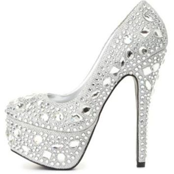 Jeweled Glitter Platform Pumps by from Charlotte Russe | #shoes