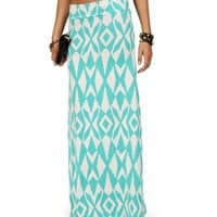 Mint Diamond Tribal Maxi Skirt