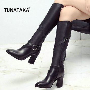 Woman Genuine Leather Square High Heel Buckle Knee High Boots Fashion Suqare Toe Zipper Party Winter Boots Black