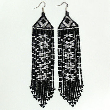 Beaded Native American Earrings  Inspired. Silver Black  Earrings. Long Earrings.  Beadwork.