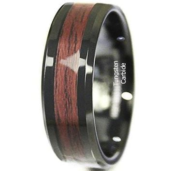 CERTIFIED 8mm Black Men's Tungsten Carbide ring Red Wood Inlay Wedding Band mens jewelry