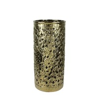 Contemporary Pierced Ceramic Umbrella Stand, Gold By Sagebrook Home