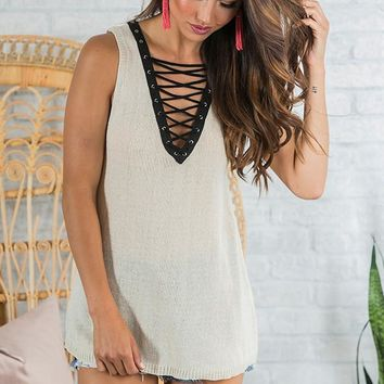 Coffee Date Lace Up Tank