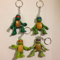 Teenage Mutant Ninja Turtles Keychain [YOU CHOOSE] - re-purposed toys