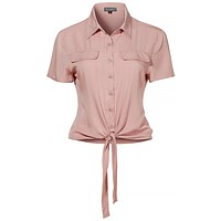 LE3NO Womens Solid Tie Front Short Sleeve Cropped Button Down Shirt