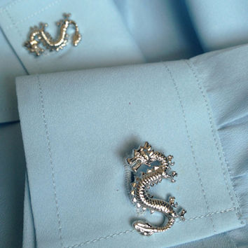 Dragon Cuff Links Inspired by Game of Thrones Choice of Gold or Silver Metal