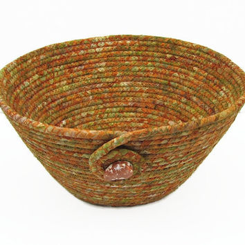 Coiled Fabric Bowl, Basket, Light Copper