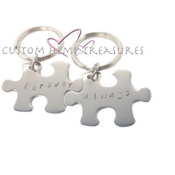 Always Forever Keychains Puzzle Pieces for couples Hand Stamped