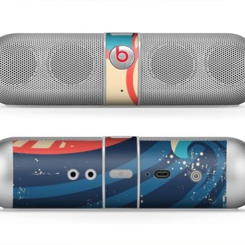 The Retro Vintage Blue vector Waves V3 Skin for the Beats by Dre Pill Bluetooth Speaker