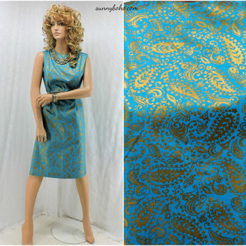 Vintage 60s paisley dress size M shift dress size 9 / 10 mod turquoise / gold 1960s sleeveless summer dress handmade retro paisley dress