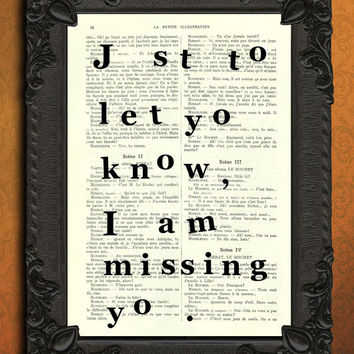 Missing you, Love poster, love gift, for him, for her, boyfriend girlfriend print, dictionary art print