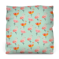 The Flamingos Outdoor Throw Pillow
