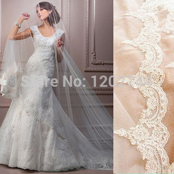 New arrival Single Layer Floor Length Long Tail Wedding accessories Bridal Prom Veil White Free Drop Shipping veu de noiva