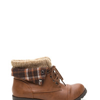 Plaid About U Knit Collar Combat Boots