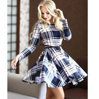 Fashion Women Checks Printed Dress with Belt