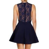 Navy Lace Skater Dress